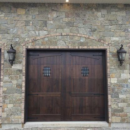 Double dark wood entrance door