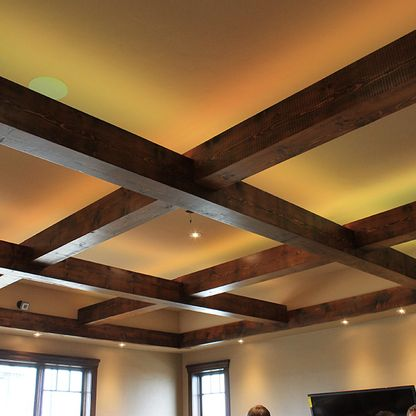 Decorative ceiling with dark wood beams