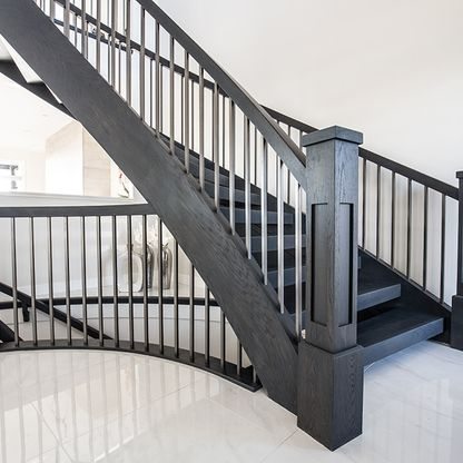 Black curved staircase