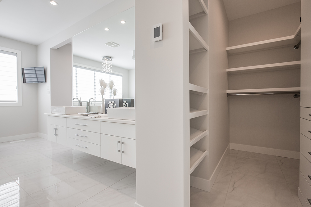 Modern white bathroom with closet