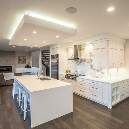 White modern open plan kitchen