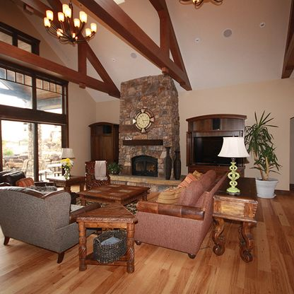 High ceiling living room with wood beams