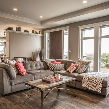 Grey living room with sectional sofa
