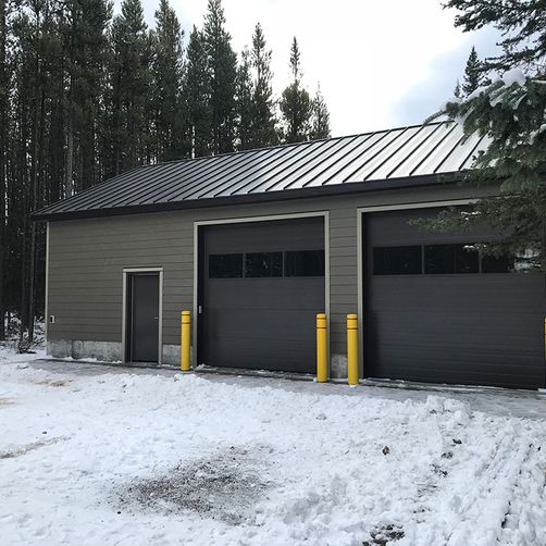 Grey double garage angle view