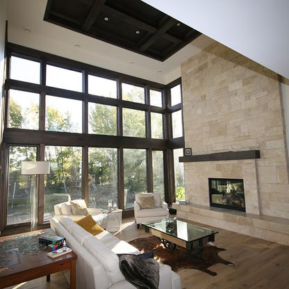 High ceiling living room